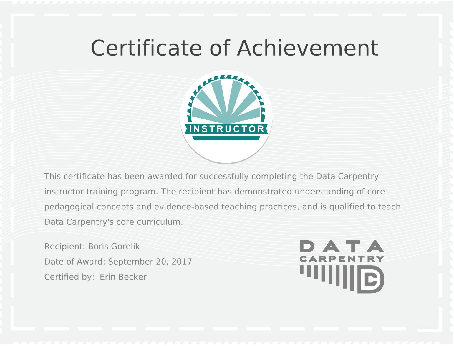 Certificate of achievement. Data Carpentry instructor