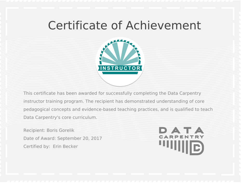 Certificate of achievement. Data Carpentry instructor