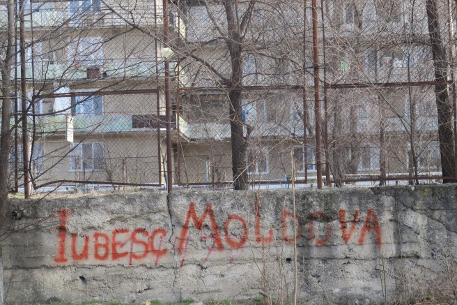 "Graffiti in Chisinau. Writing that says ""I love Moldova"" (in Romanian)"