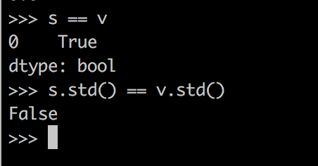 Screenshot that shows that two variables have different standard deviation despite being equal