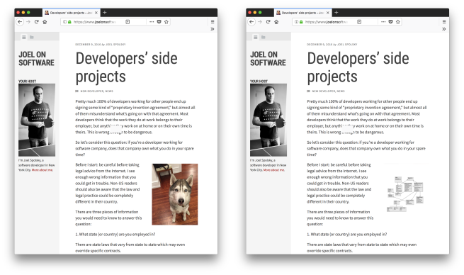 Two screenshots of Joel's blog. One with a Husky, another one with a meaningless diagram