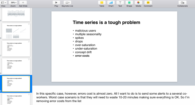 Screenshot of the presentation speaker notes.
