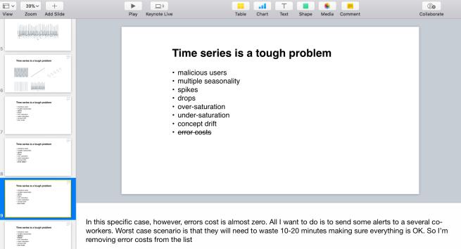 Screenshot of the presentation speaker notes.