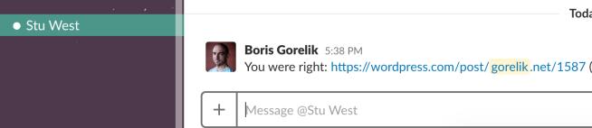 Screenshot: me texting Stu that he was right