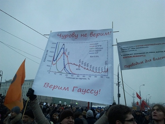 "Demonstration in Russia. Poster: ""We don't believe Churov. We believe Gauss"""