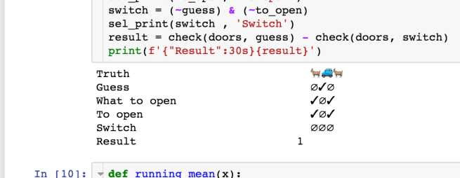 Illustration: Screenshot of a Jupyter notebook that shows the output of one round of Monty Hall simulation