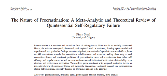 "Screenshot of ""The Nature of Procrastination"" paper"