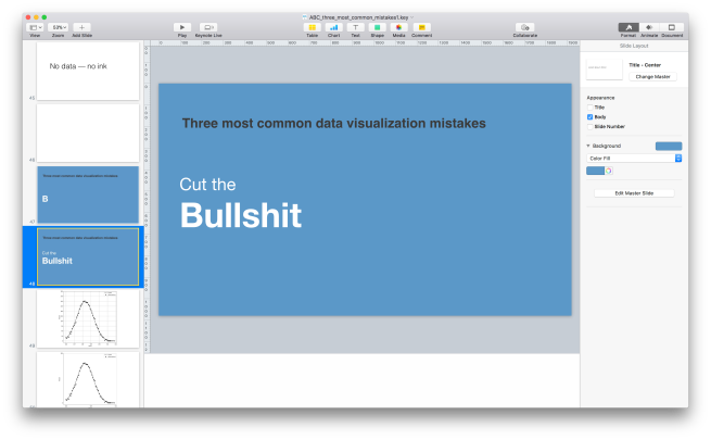 "Screenshot. My presentation slides. One of them says ""Cut the bullshit"""