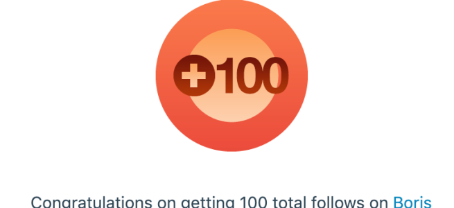 Screenshot that says that I have 100 followers