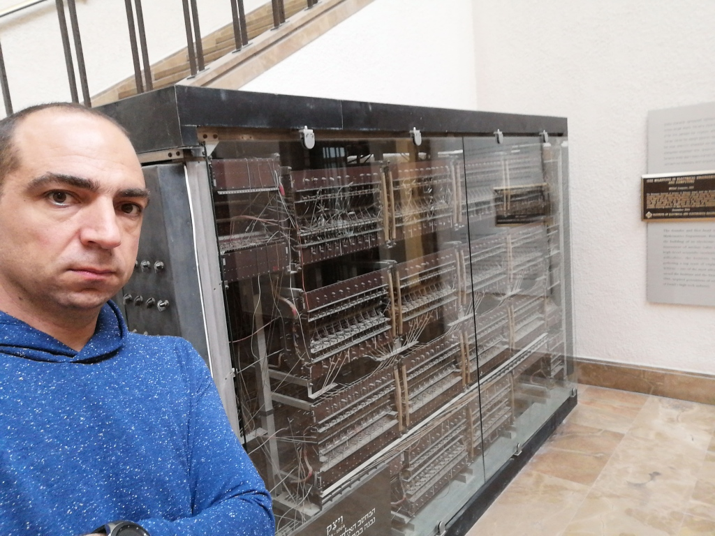 Me in front of the memory unit of WEIZAC