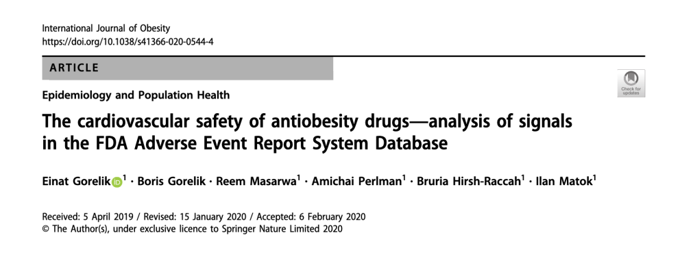 The cardiovascular safety of antiobesity drugs—analysis of signals in the FDA Adverse Event Report System Database