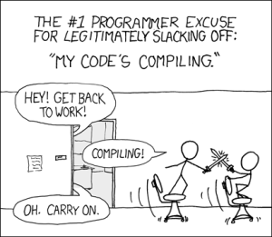 Illustration: famous xkcd comic. Two programmers play during the compilation time